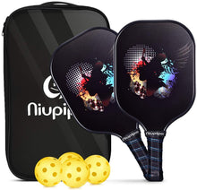 Load image into Gallery viewer, Pickleball Paddles, USAPA Pro Graphite Pickleball Paddle Set of 2 Pickleball Racquet 4 Pickleball Balls 1 Bag, Polypropylene Honeycomb Core, Graphite Face Cushion 4.25In Grip Lightweight Pickleball
