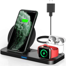 Load image into Gallery viewer, Powlaken 3 in 1 Wireless Charging Station for Apple Products Compatible with Apple Watch Series Se 6 5 4 3 2, AirPods Pro 2, Fast Wireless Charger Stand Dock for iPhone 12, 11 Pro Max, 11, XR, XS, X