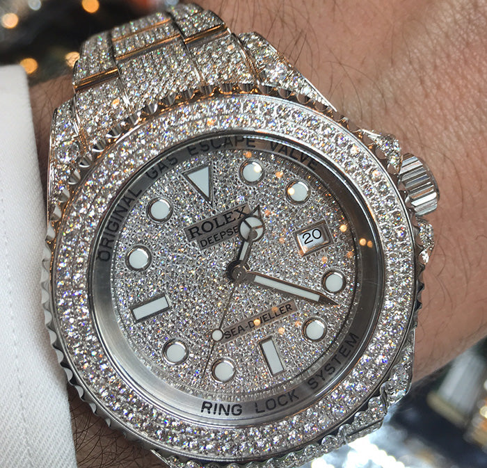 rolex mens deepsea stainless steel iced out 22ct of