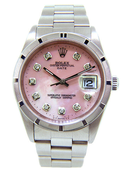 Rolex Date Mens Pink Mother Of Pearl Diamond Face / Engine Turn Bezel