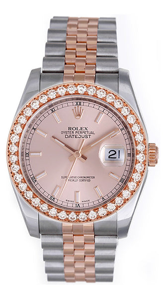Rolex Mens Datejust Two Tone Pink Dial / 2.5ct Diamond Bezel - Model 116231