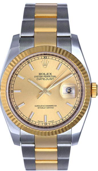 Rolex Datejust Mens Two Tone Champagne Stick Dial