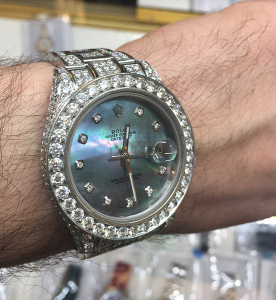Rolex Datejust II Black MOP Diamond Dial / Loaded with Diamonds