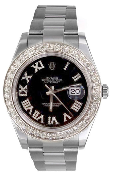 Rolex Datejust II Black Roman Diamond Dial & 3.00ct Bezel !