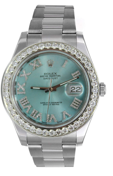 Rolex Datejust II Ice Blue Roman Diamond Dial & 3.00ct Bezel !
