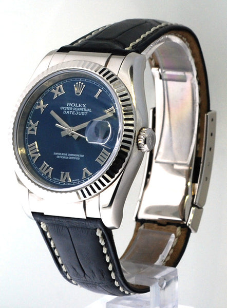 Rolex Datejust 18kt White Gold New Style / Blue Roman