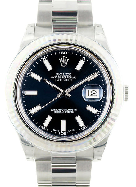 Rolex Datejust II Blue Stick Dial & White Gold Bezel / New