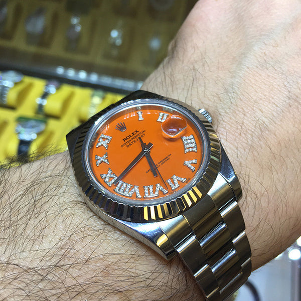 Rolex Datejust II Orange Roman Diamond Dial & White Gold Bezel