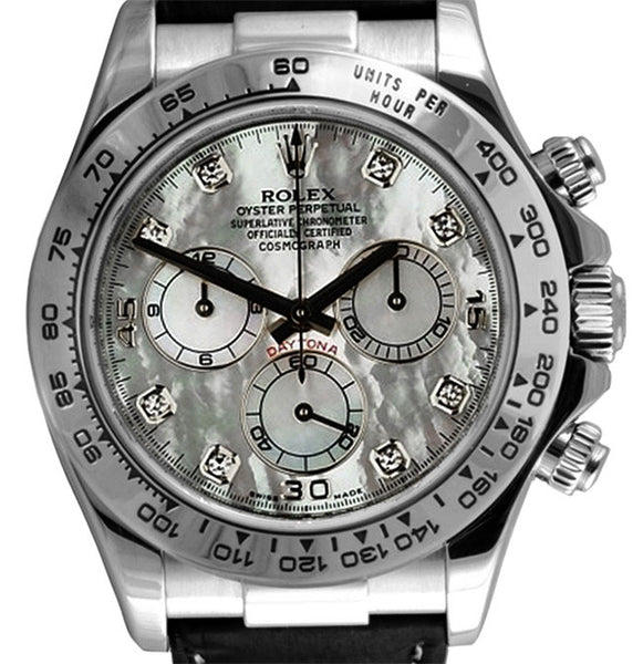 Rolex Daytona White Gold on Strap White MOP Diamond Dial