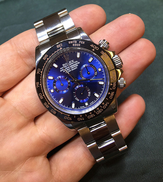 Rolex Daytona Steel Blue Face / Ceramic Bezel Orange !