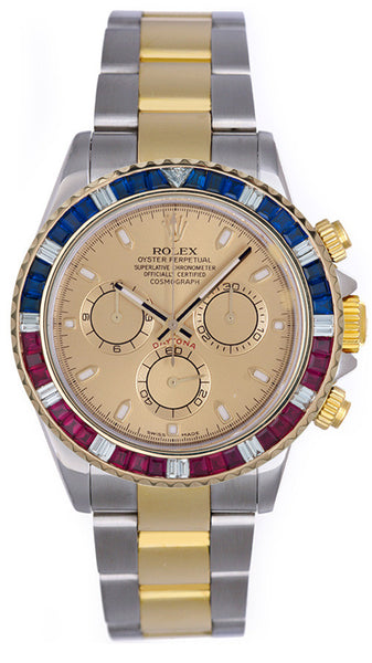 Rolex Daytona Two Tone Champagne Dial / Red, Blue Quartz Diamonds