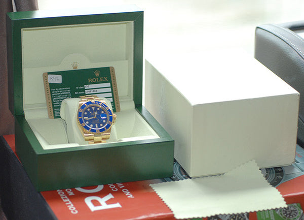 Rolex Submariner Yellow Gold Blue Ceramic Bezel - Box & Papers