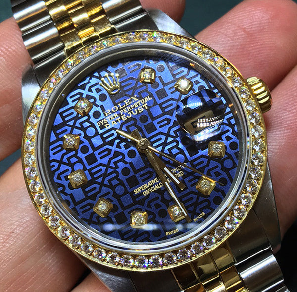 Rolex Datejust Mens Blue Jubilee Two Tone & Diamonds