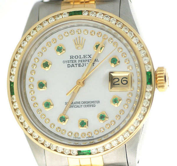 Rolex Datejust Mens Two Tone Emerald Bezel & White MOP Emerald Face