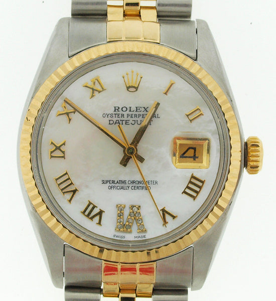 Rolex Datejust Mens Datejust White MOP Roman Diamonds at 6'