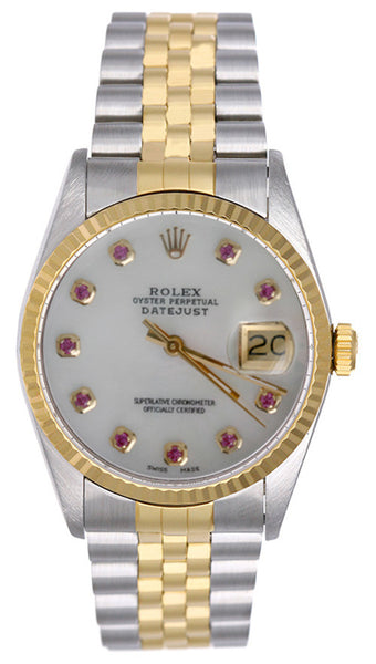 Rolex Datejust Mens 2 Tone White Mother Of Pearl Ruby Face / Fluted Bezel