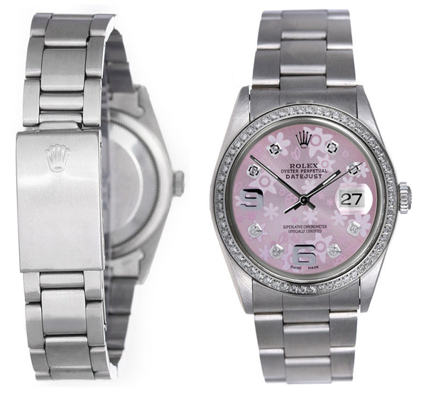 Rolex Datejust Mens Pink Flower Diamond Face / Diamond Bezel