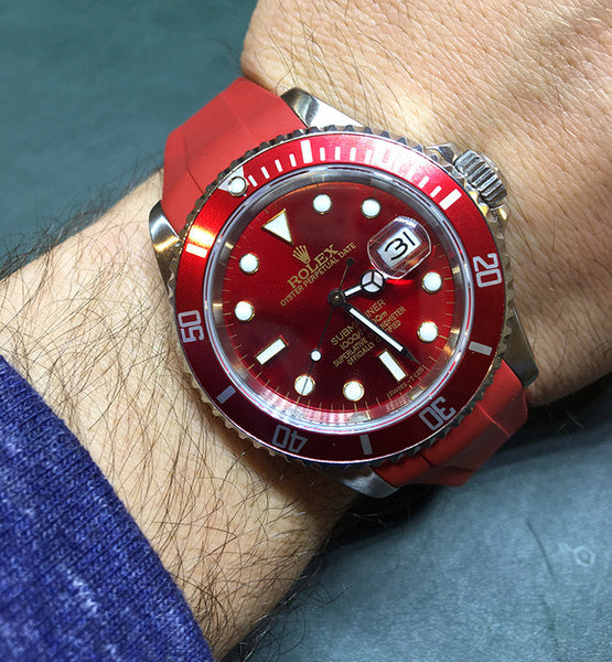 Rolex Submariner Steel Red Dial, Insert & Rubber B Strap