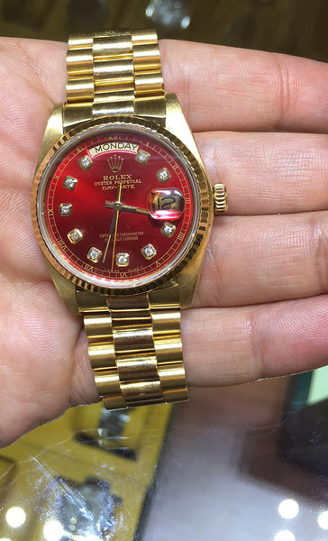 Rolex Mens President Yellow Gold Red Diamond Face