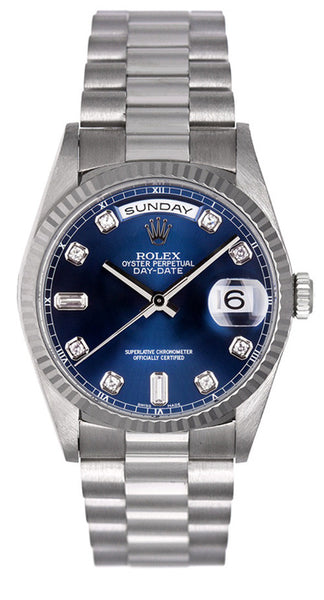 rolex men s watches used rolex men s watches limited watches rolex mens president white gold 18239 blue diamond dial · limited watches