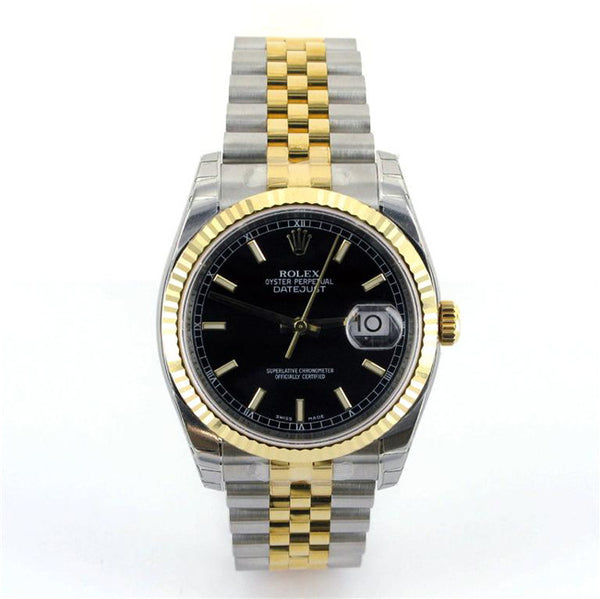 Rolex Mens Datejust Two Tone Black Stick Dial - 2014