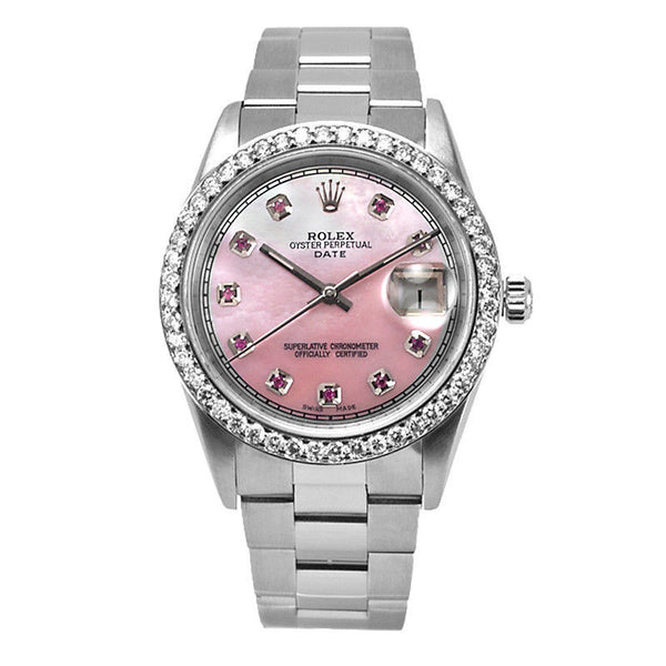 Rolex Date Mens Pink Mother Of Pearl Ruby Face / Diamond Bezel