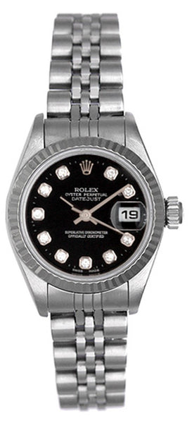 Rolex Ladies Datejust Steel Black Diamond Dial & Jubilee Band