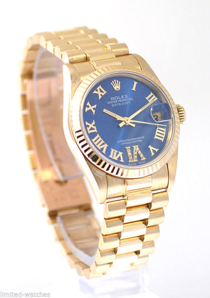 Rolex Datejust Midsize Yellow Gold Blue Diamond Dial at 6'
