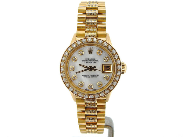 Rolex Ladies President Yellow Gold  2.00ct Diamond Bezel & White MOP Dial / Band
