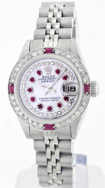 Rolex Ladies Datejust White Mother Of Pearl Double Row Rubies & Bezel