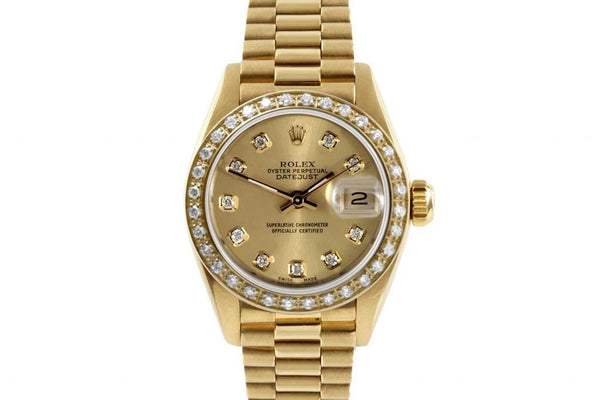 Rolex Ladies President Yellow Gold Champagne Diamond Dial & Bezel