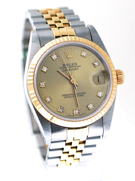 Rolex Datejust Midsize Two Tone Champagne Diamond Dial - Mint !