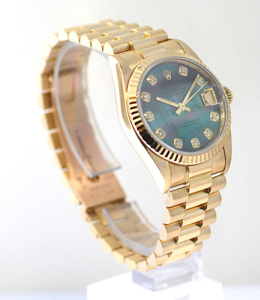 Rolex Datejust Midsize Yellow Gold Black MOP Diamond Dial