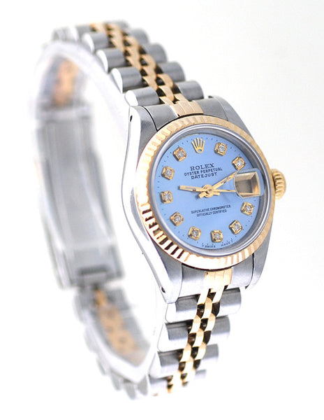 Rolex Datejust Ladies Two Tone Blue MOP Diamond Dial - Box & Booklets