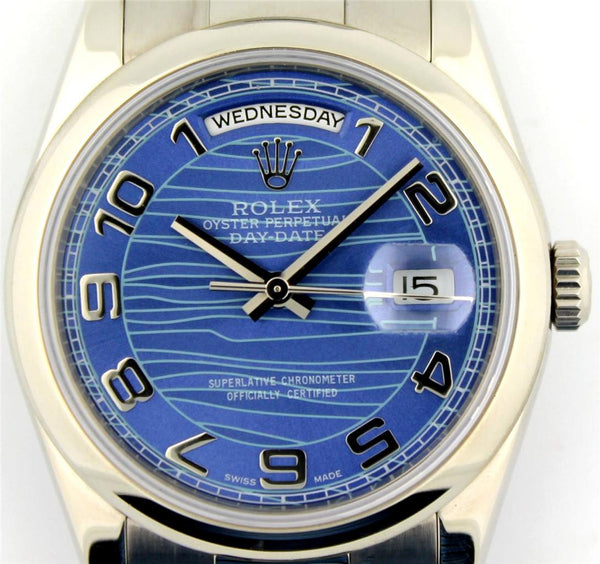 Rolex Mens President White Gold Watch Blue Wave Arabic Dial / Domed Bezel