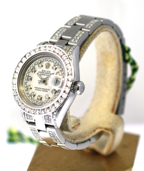Rolex Datejust Ladies White MOP String Diamond Dial/Bezel/Lugs/Band