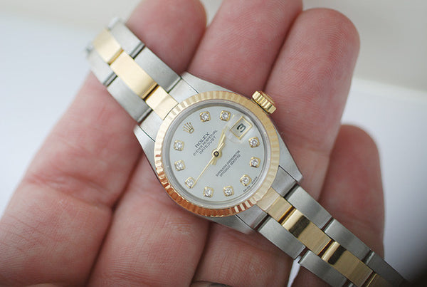 Rolex Datejust Ladies Two Tone Factory white MOP diamond dial