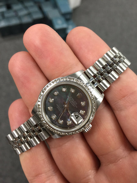 Rolex Datejust Ladies Black MOP Diamond Dial & Channel Set Bezel