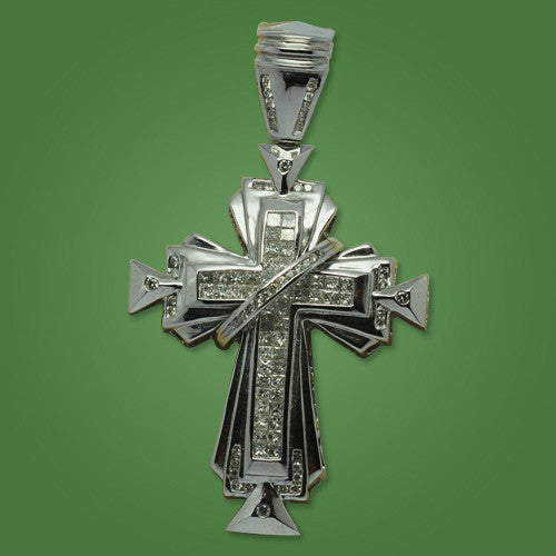 Cross with 3.50ct in White Gold Old Style Diamonds