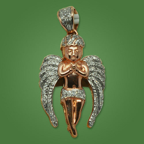 Angel Charm in Pink Gold 0.25ct of Diamonds - Great Look !
