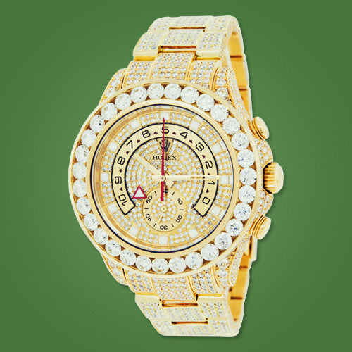 Rolex Yachtmaster II Yellow Gold Iced Out ! 26ct