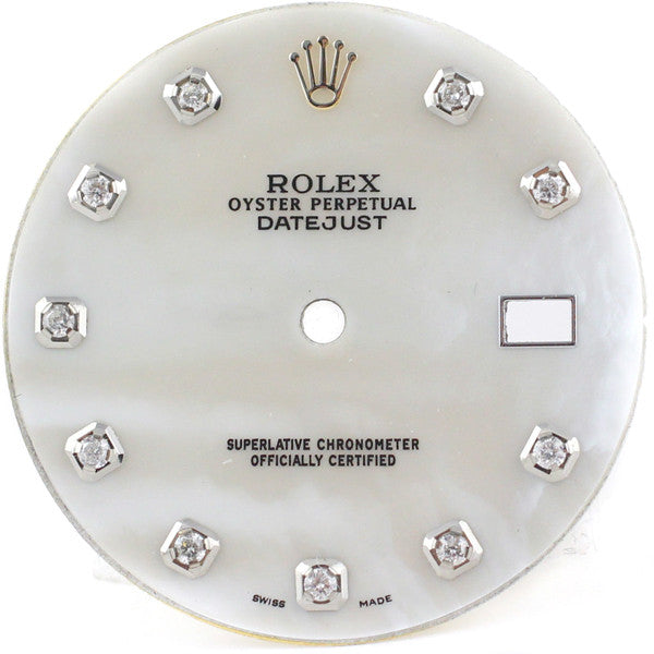 rolex mens white mother of pearl diamond dial