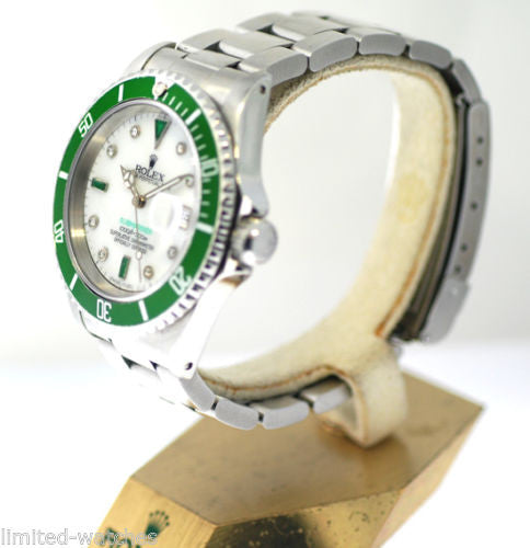 Rolex Submariner Steel Diamonds & Emeralds - White MOP