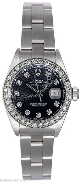Rolex Datejust Ladies Black Jubilee Diamond Dial & Bezel / Oyster Band