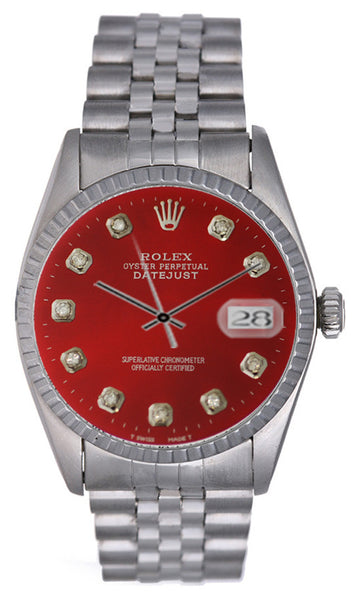 Rolex Datejust Mens Red Color Diamond Face / Jubilee Band