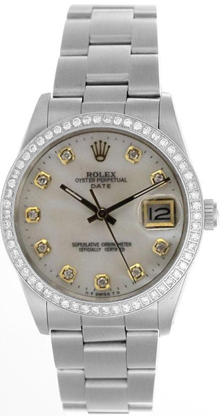 Rolex Date Mens White Mother Of Pearl Diamond Face / Diamond Bezel