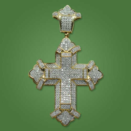 Cross with 5.00ct in Yellow Gold Pave Style Diamonds
