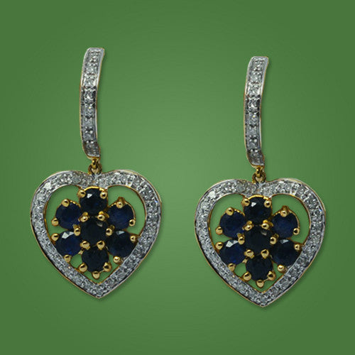 Earrings in Yellow Gold Diamonds & Sapphires