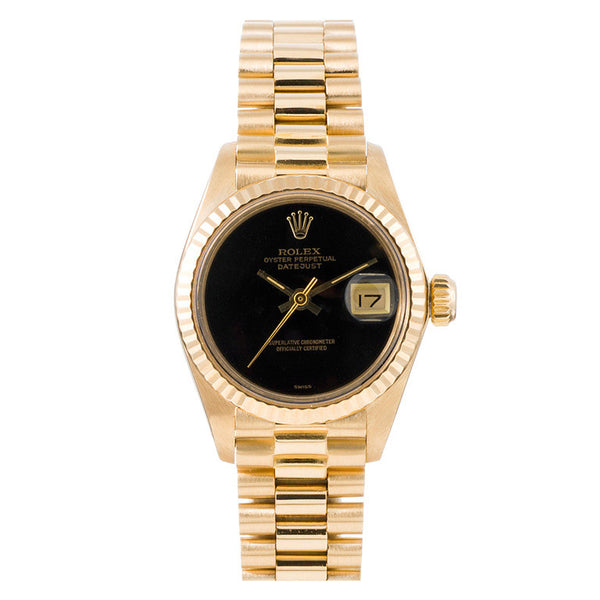 Rolex Ladies Yellow Gold President Onyx Dial / Model # 69178