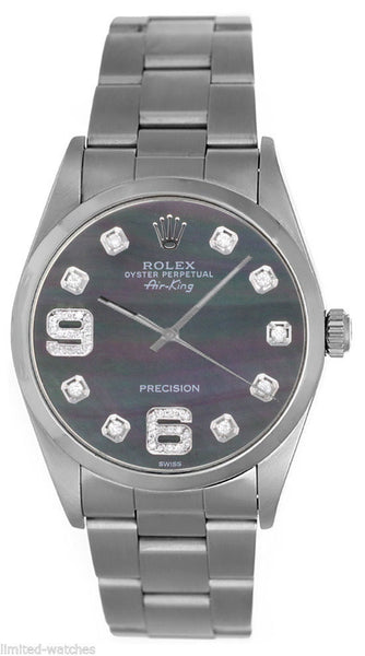 Rolex Airking Black MOP Diamonds 6' & 9' Face / Smooth Bezel